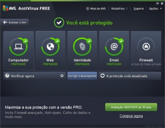 antivirus avg ativado e funcionando